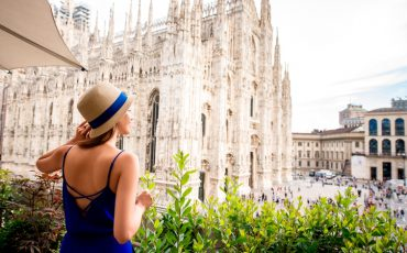Woman near Duomo cathedral in Milan